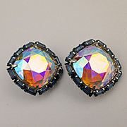 Vendome Aurora Borealis Crystal Headlight Earrings