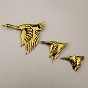 1940s CORO Mexican Sterling Silver Flying Geese Bird Pin Set