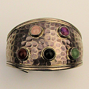 Big Wide Taxco Sterling Silver Cuff Bracelet w/ Gemstone Studs