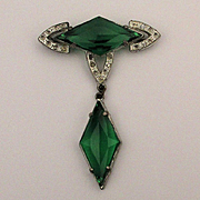 Art Deco Faux Emerald Rhinestone Pin w/ Dangle