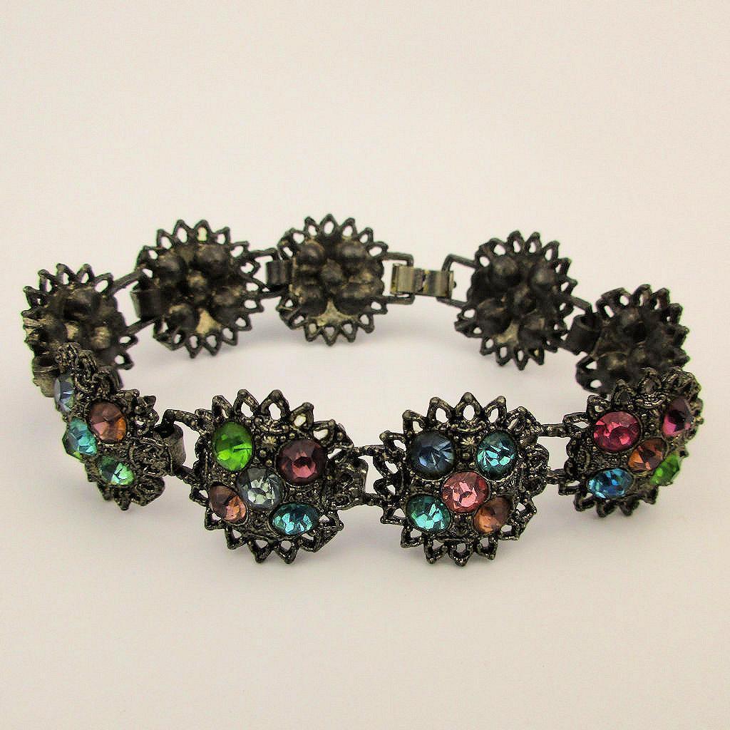 Vintage Multi-Color Rhinestone Bracelet