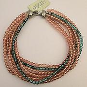 Vintage Givenchy Bijoux Multi Strand Glass Bead Necklace