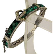 Art Deco Signed Sterling Silver Faux Emerald Bracelet