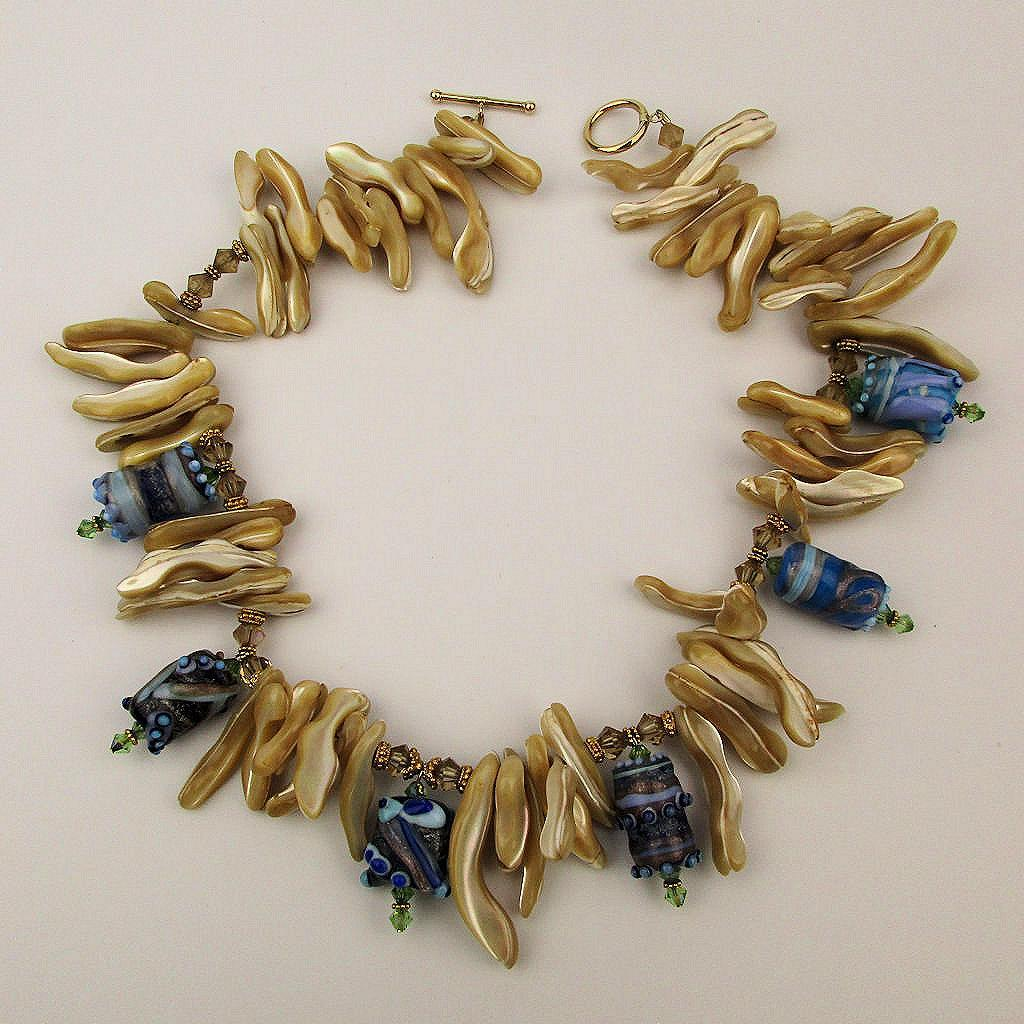 Chunky Mother of Pearl w/ Venetian Art Glass Beads Necklace