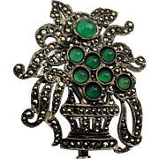 Victorian c1900s Sterling Silver Marcasite Pin w/ Chrysoprase Basket
