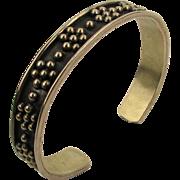 Vintage 925 Taxco Cuff Bracelet Raised Silver Flower Beads