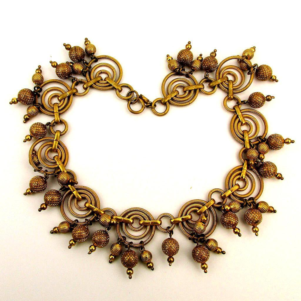 SOLD TO A.R. - Snazzy 1940s MONET Jewelers Gilded Necklace Dangles Galore