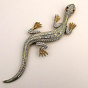 Super Long Crystal Rhinestone Lizard Pin