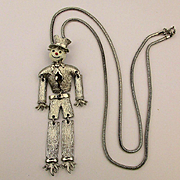 Jointed Scarecrow Dancing Pendant Necklace