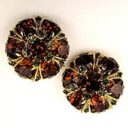 Great Hattie Carnegie Rhinestone Clip Earrings