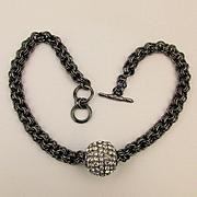 KJL Kenneth Jay Lene Rhinestone Ball on Black Chain Necklace