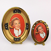 Set of 1950s GOLD TONE Picture Frames Oval Easel Frame