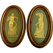 Pair Vintage Burwood Wall Plaques Pictures Neo-Classic Art Women