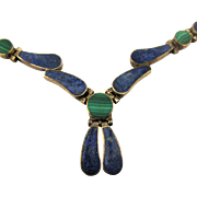SOLD TO G.T. - Mexican 950 Sterling Silver Lapis Malachite Necklace