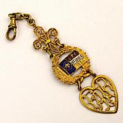 Fancy 1904 St. Louis World's Fair Watch Fob - Enamel w/ Gilt - L.P.E.