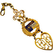 Fancy 1904 St. Louis World's Fair Watch Fob - Enamel w/ Gilt - L.P.E.