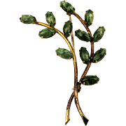 Winard Gold-Filled Jade Buds Tree Branch Pin Brooch