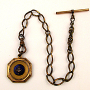 Victorian Gold-Clad Enamel Masonic Fob Emblem on Watch Chain