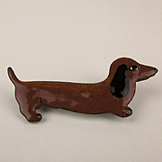 Very Cute Enamel on Copper Dachshund Pin - Handmade One of a Kind c1950s