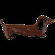 Very Cute Enamel on Copper Dachshund Pin - Handmade One of a Kind c1950s