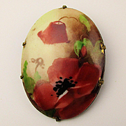 Victorian Porcelain Pin w/ Handpainted Red Poppy Flowers