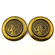 Bold French Coin Clip Earrings