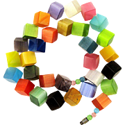 Vintage Satinized Lucite Color Cubes Bead Necklace