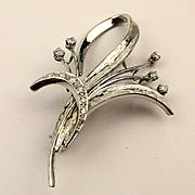 Estate French 18K White Gold Diamond Pin Brooch
