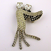Dancing Rhinestone Covered Couple Pin w/ Smooth Moves