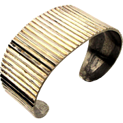 Modernist Taxco Mexican Sterling Silver Rippling Cuff Bracelet