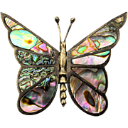 Old Mexican Sterling Silver Abalone Shell Butterfly Pin