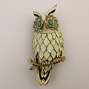 Vintage JOMAZ Enamel Owl Pin Brooch w/ Jewels