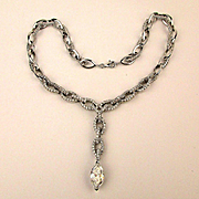 Glamestuous 925 Sterling Silver Crystal Necklace