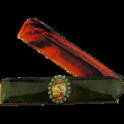 Vintage 1930s Bakelite Comb Case w/ Jeweled Vignette