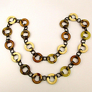 Long Lucite Necklace Chain - Rings of Neutral Colors