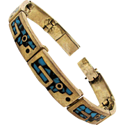 Vintage Mexican Sterling Silver Inlaid Bracelet Turquoise - Onyx