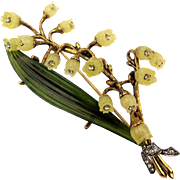Joan Rivers Lily of the Valley Lavender Rhinestones Pin Brooch