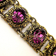 Great Link Filigree Bracelet w/ 7 Big Faux Amethyst Rhinestones