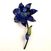 Vintage Francois - Coro Enamel Rhinestone Flower Pin c1960s