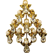 Vintage Christmas Tree Pin Brooch - All White Crystals - Faux Pearls