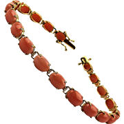 Gorgeous 14K Gold Bracelet w/ 20 Angel Skin Coral Links