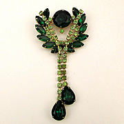 Dangling Faux Emerald Crystal Rhinestone Pin Brooch