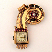 Art Deco 14K Rose Gold Lapel Watch Pin Brooch w/ Gemstones