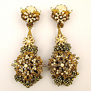 Fantastic Haskellesque Jeweled Clip Earrings by D. Lowell