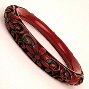 Vintage Chinese Cinnabar Bangle Bracelet Carved Floral