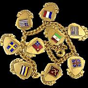 Old Orig. 1939 Enamel FLAG CHARM Bracelet 9 Countries