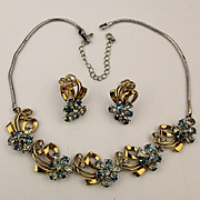 Classic 1940s PENNINO Rhinestone Necklace Earrings Set