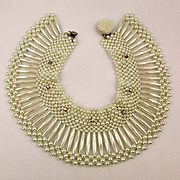 1960s Faux Pearl w/ Rhinestones Collar Necklace