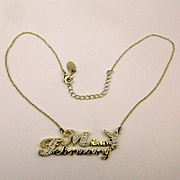 Vintage Playboy ~ Miss February ~ Faux Diamond Pendant Necklace