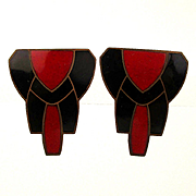 Art Deco Enamel on Copper Earrings - Red / Black Classic Design